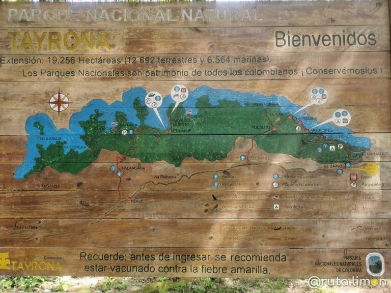 Mapa de los senderos del Parque Tayrona