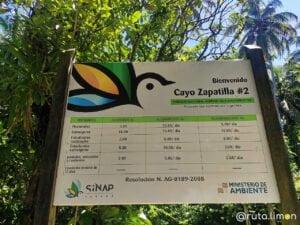 Tablón informativo Cayos Zapatilla - Bocas del Toro