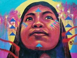 Graffiti de una mujer indígen en la plaza de Quevedo de Bogotá